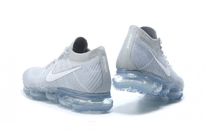 Nike Air VaporMax Flyknit Pure White Platinum белые, фото 4