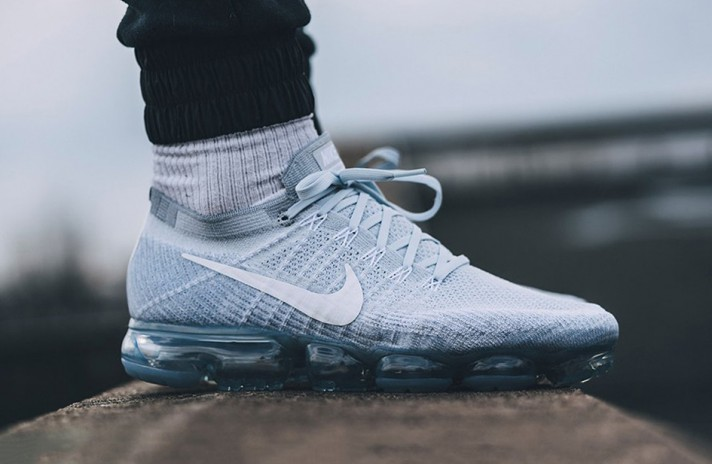 Nike Air VaporMax Flyknit Pure White Platinum белые, фото 7