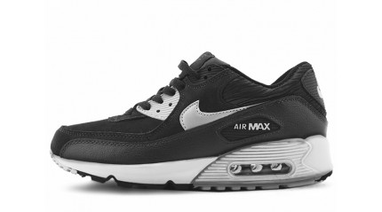 Nike Air Max 90 LTHR black stern instep gray