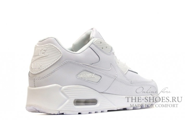 Nike Air Max 90 Leather Pure White белые кожаные, фото 3