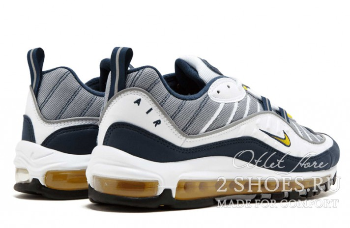 Nike Air Max 98 Gundam Tour Yellow Midnight Navy белые синие, фото 3