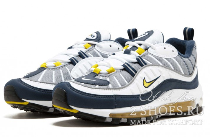 Nike Air Max 98 Gundam Tour Yellow Midnight Navy белые синие, фото 2