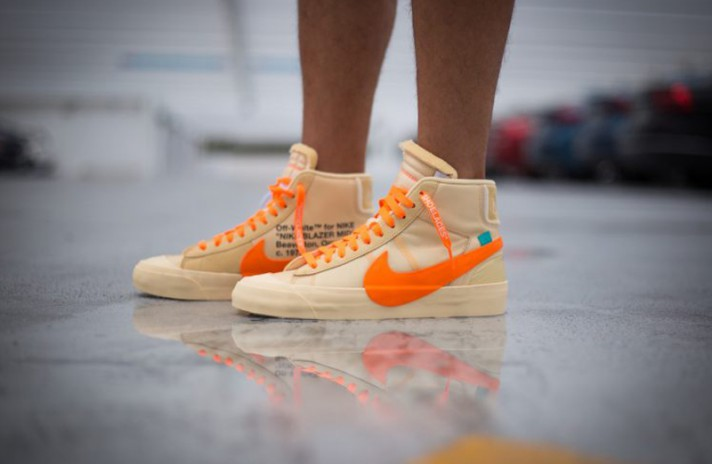Nike Blazer Mid Off White Spooky Pack All Hallows Eve бежевые, фото 5