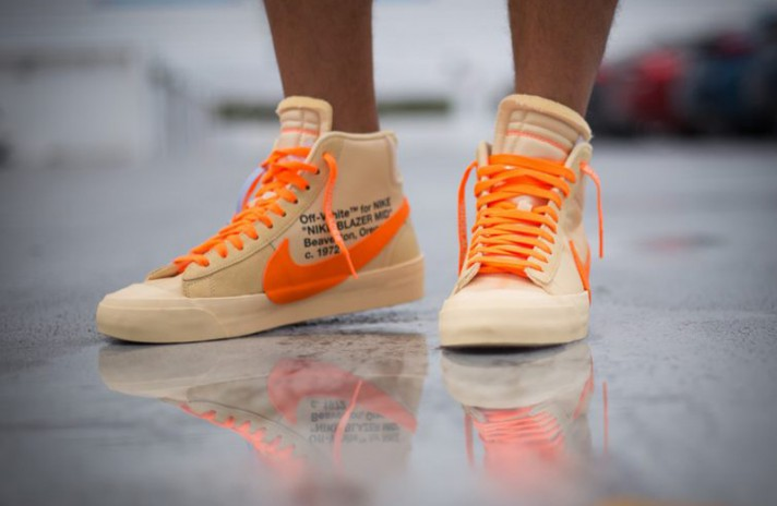 Nike Blazer Mid Off White Spooky Pack All Hallows Eve бежевые, фото 6