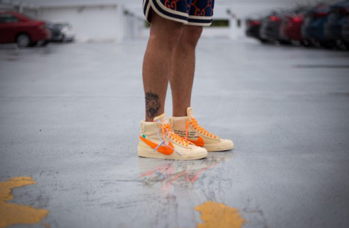 Nike Blazer Mid Off White Spooky Pack All Hallows Eve бежевые, фото 4