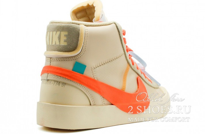 Nike Blazer Mid Off White Spooky Pack All Hallows Eve бежевые, фото 3