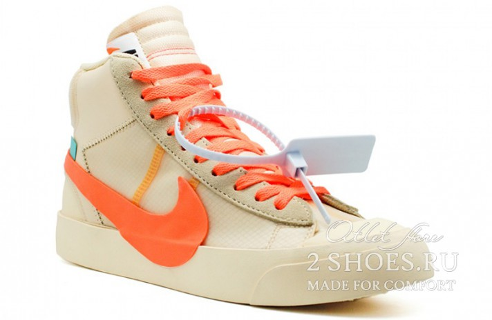 Nike Blazer Mid Off White Spooky Pack All Hallows Eve бежевые, фото 2