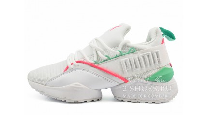 Puma Muse Maia Street 1 White Knockout Pink Green