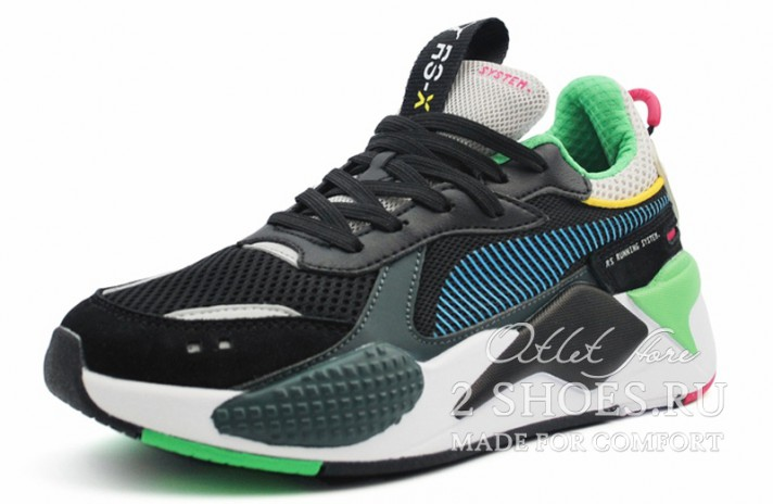 Puma RS-X Toys Black Blue Atoll черные, фото 2