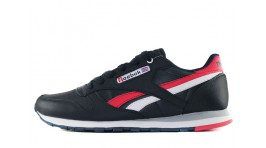 Reebok Classic Leather Blue Dark Red White темно-синие кожаные