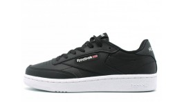 Reebok Club C 85 Black Leather черные кожаные