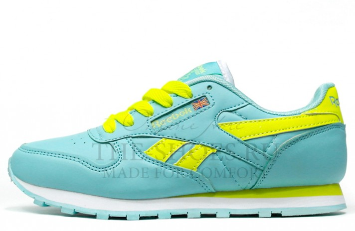 Reebok Classic Leather Mint Acid Lime голубые кожаные