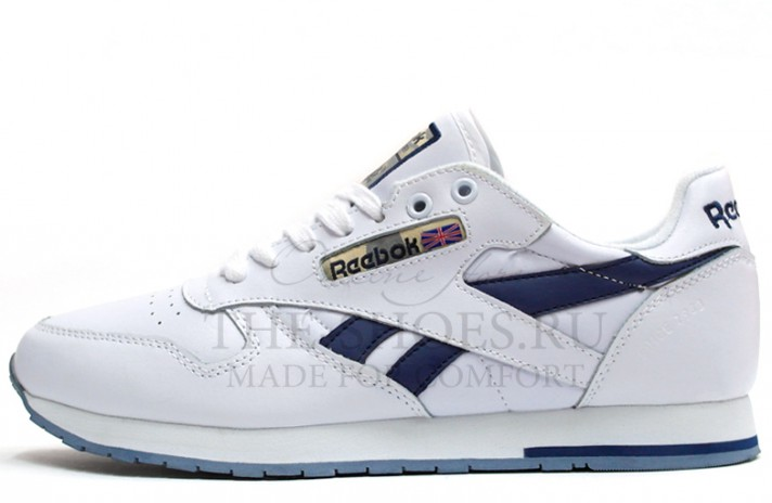 Reebok Classic Leather White Blue белые кожаные
