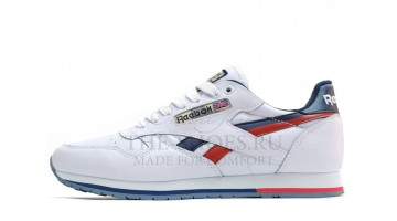Кроссовки женские Reebok Classic Leather White Blue Red