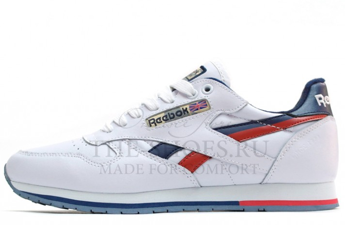 Кроссовки Reebok Classic Leather White Blue Red