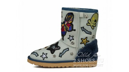 короткие эксклюзивные Ugg Australia Exclusive Short Patch It Blue Denim