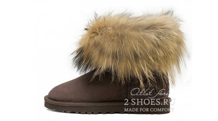 мини с мехом лисы Ugg Australia Mini Fox Fur Chocolate