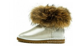 Мини с мехом лисы Ugg Australia Mini Fox Fur Glitter White белые