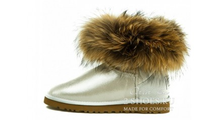 мини с мехом лисы Ugg Australia Mini Fox Fur Glitter White