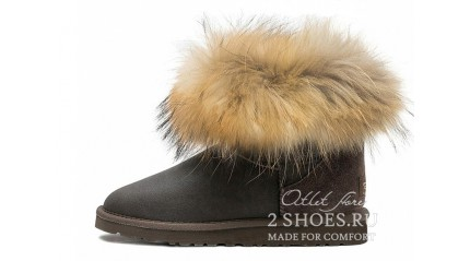 мини с мехом лисы Ugg Australia Mini Fox Fur Metallic Chocolate