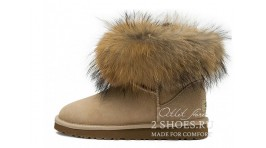 Мини с мехом лисы Ugg Australia Mini Fox Fur Sand бежевые