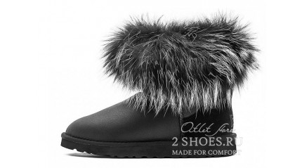 мини с мехом лисы Ugg Australia Mini Fox Fur Ultra Metallic Black