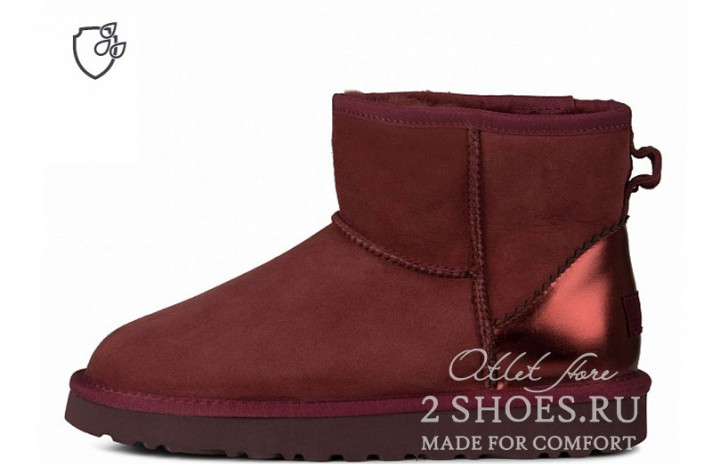Мини Ugg Australia Classic Mini II Metallic Port Burgundy бордовые, фото 1