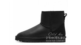 Мини Ugg Australia Classic Mini Metallic Black черные кожаные