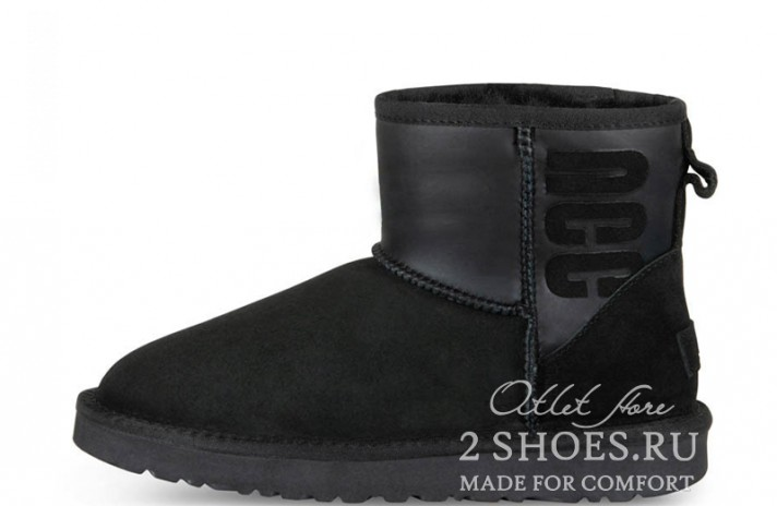 Мини Ugg Australia Classic Mini Ruber Boot Black черные, фото 1