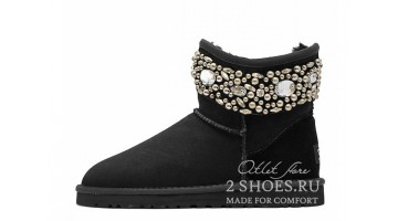 Угги женские Ugg Australia Jimmy Choo Mini crystal Black