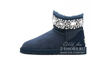 Угги женские Ugg Australia Jimmy Choo Mini crystal Navy