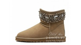 Мини джимми чу Ugg Australia Jimmy Choo Mini Multicrystal Sand бежевые