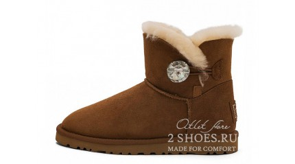 мини с пуговицей Ugg Australia Mini Bailey Button Bling Chestnut