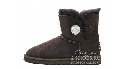 мини с пуговицей Ugg Australia Mini Bailey Button Bling Chocolate