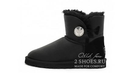 мини с пуговицей Ugg Australia Mini Bailey Button Bling Metallic Black