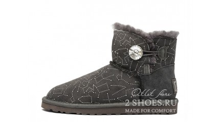 мини с пуговицей Ugg Australia Mini Bailey Button Constellation Bling Gray