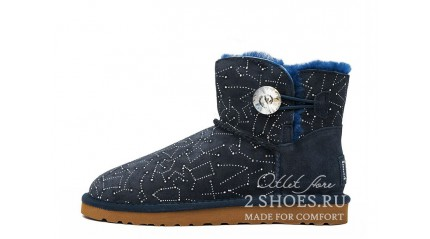 мини с пуговицей Ugg Australia Mini Bailey Button Constellation Bling Navy
