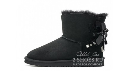 мини с лентами Ugg Australia Mini Bailey Bow Braid Black