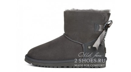 мини с лентами Ugg Australia Mini Bailey Bow Braid Gray