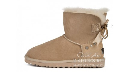 мини с лентами Ugg Australia Mini Bailey Bow Braid Sand