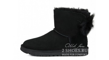 Угги женские Ugg Australia Mini Bailey Bow Fluff Black