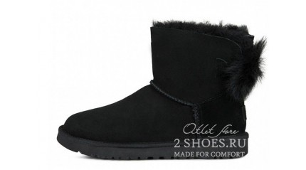 мини с лентами Ugg Australia Mini Bailey Bow Fluff Black