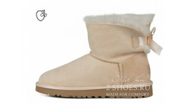 Мини с лентами Ugg Australia Mini Bailey Bow II Amberlight бежевые