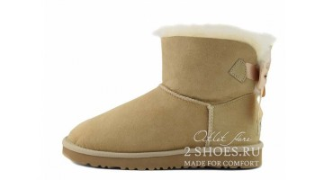 Угги женские Ugg Australia Mini Bailey Bow Medal Sand
