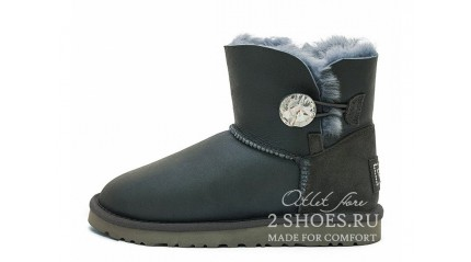 мини с пуговицей Ugg Australia Mini Bailey Button Bling Metallic Grey