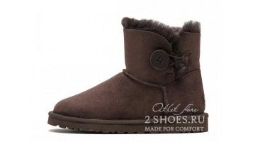 Угги женские Ugg Australia Mini Bailey Button Сhocolate