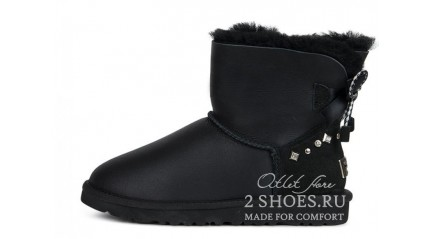 мини с лентами Ugg Australia Mini Bailey Bow Braid Metallic Black