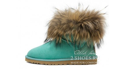 мини с мехом лисы Ugg Australia Mini Fox Fur Aqua Mint
