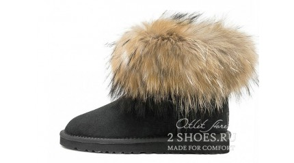 мини с мехом лисы Ugg Australia Mini Fox Fur Black