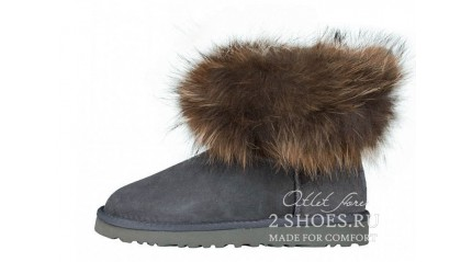 мини с мехом лисы Ugg Australia Mini Fox Fur Gray